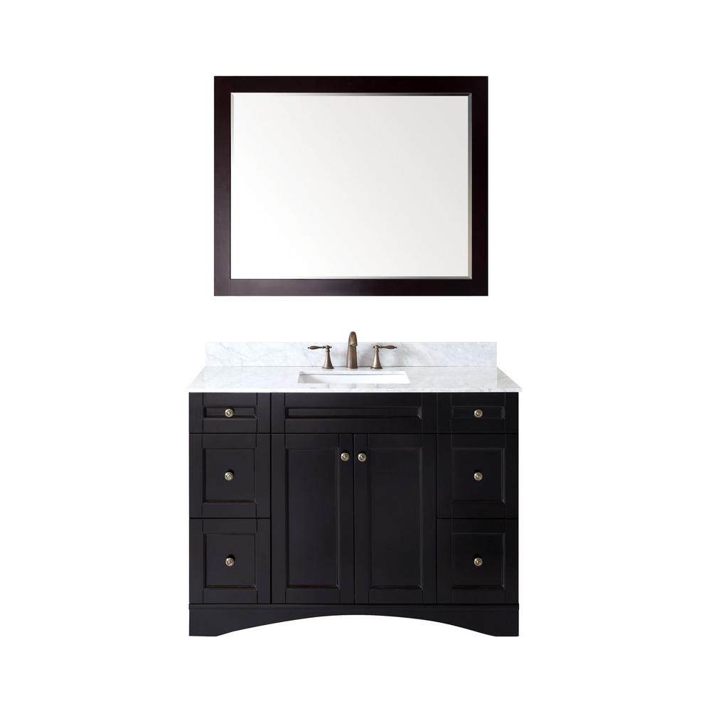 Virtu USA Elise 48 in. Vanity in Espresso with Marble Vanity Top in Italian Carrara White and Mirror