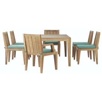Bermuda 7-Piece All-Weather Eucalyptus Wood Patio Dining Set with Spa Blue Fabric Cushions