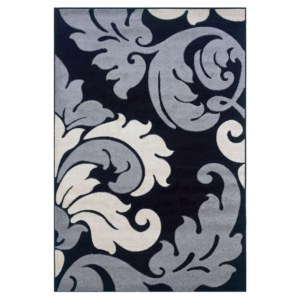 Corfu Collection Black and Grey 1 ft. 10 in. x 2
