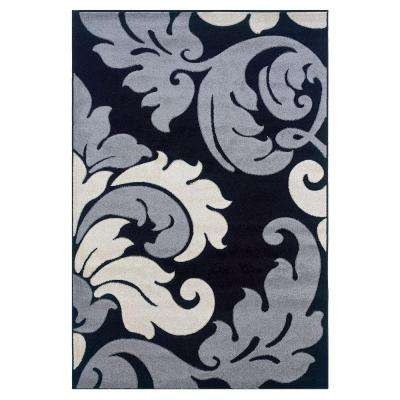 Corfu Collection Black and Grey 8 ft. x 10 ft. Indoor Area Rug