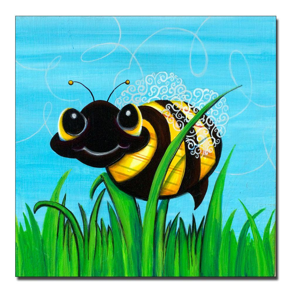 18 in. x 18 in. Bee at Play Canvas Art