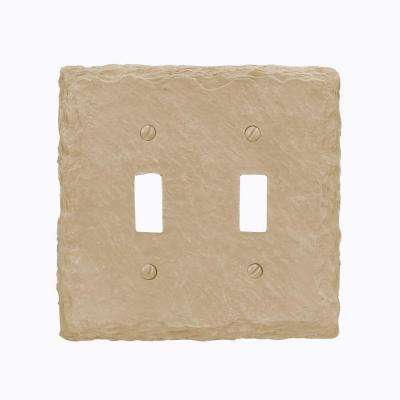 Faux Slate Resin 2 Toggle Wall Plate - Almond