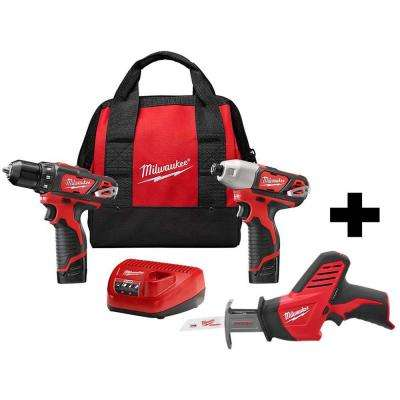 M12 12-Volt Lithium-Ion Cordless Drill Driver/Impact Driver Combo Kit (2-Tool) W/ Free M12 Hackzall Reciprocating Saw