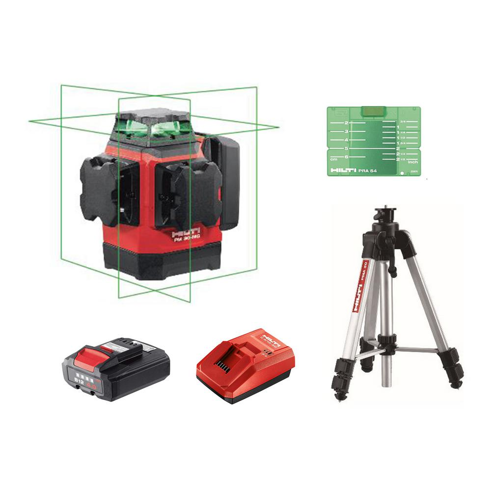 Hilti PM 30-MG 131 ft. Multi-Green Laser Kit with PMA 20 Tripod, Battery and Charger