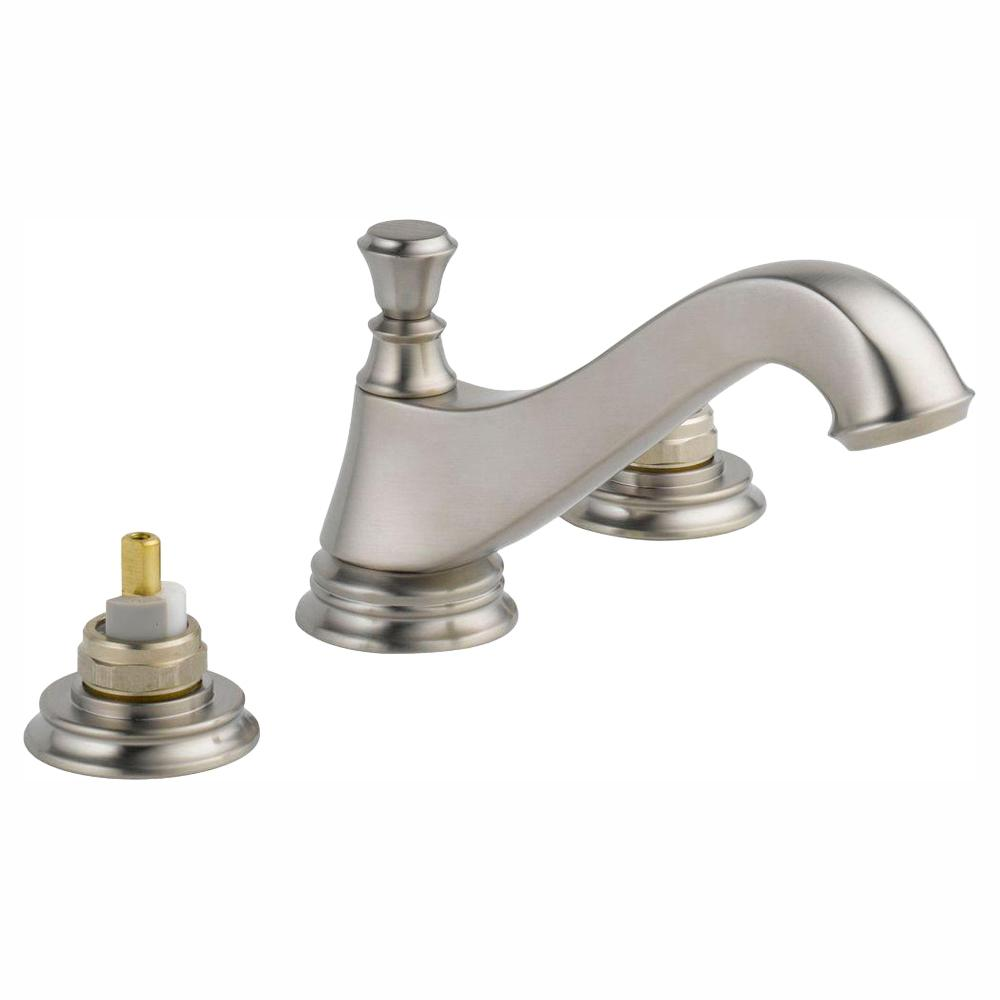 Delta Cassidy 8 in. Widespread 2-Handle Bathroom Faucet with Metal Drain Assembly in Stainless (Handles Not Included)