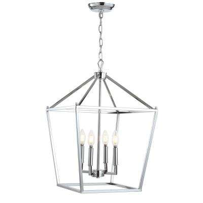 Pagoda 16 in. 4-Bulb Chrome Lantern Metal LED Pendant