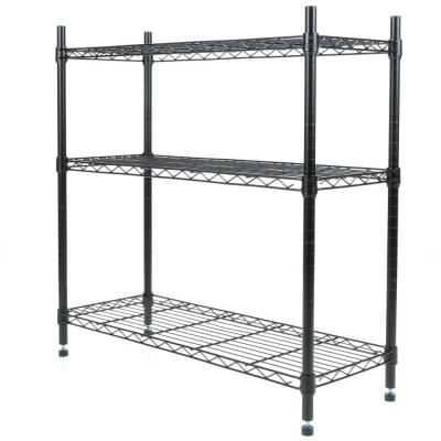 Deluxe Rack Collection 36 in. x 36 in. Supreme 3-Tier Shelving in Black
