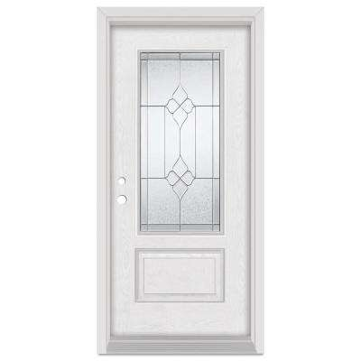 37.375 in. x 83 in. Geometric Right-Hand 3/4 Lite Zinc Finished Fiberglass Oak Woodgrain Prehung Front Door Brickmould