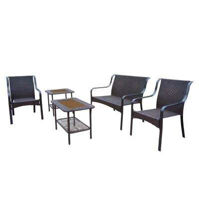 Tuscany Wicker 5-Piece Outdoor Bar Height Dining Set