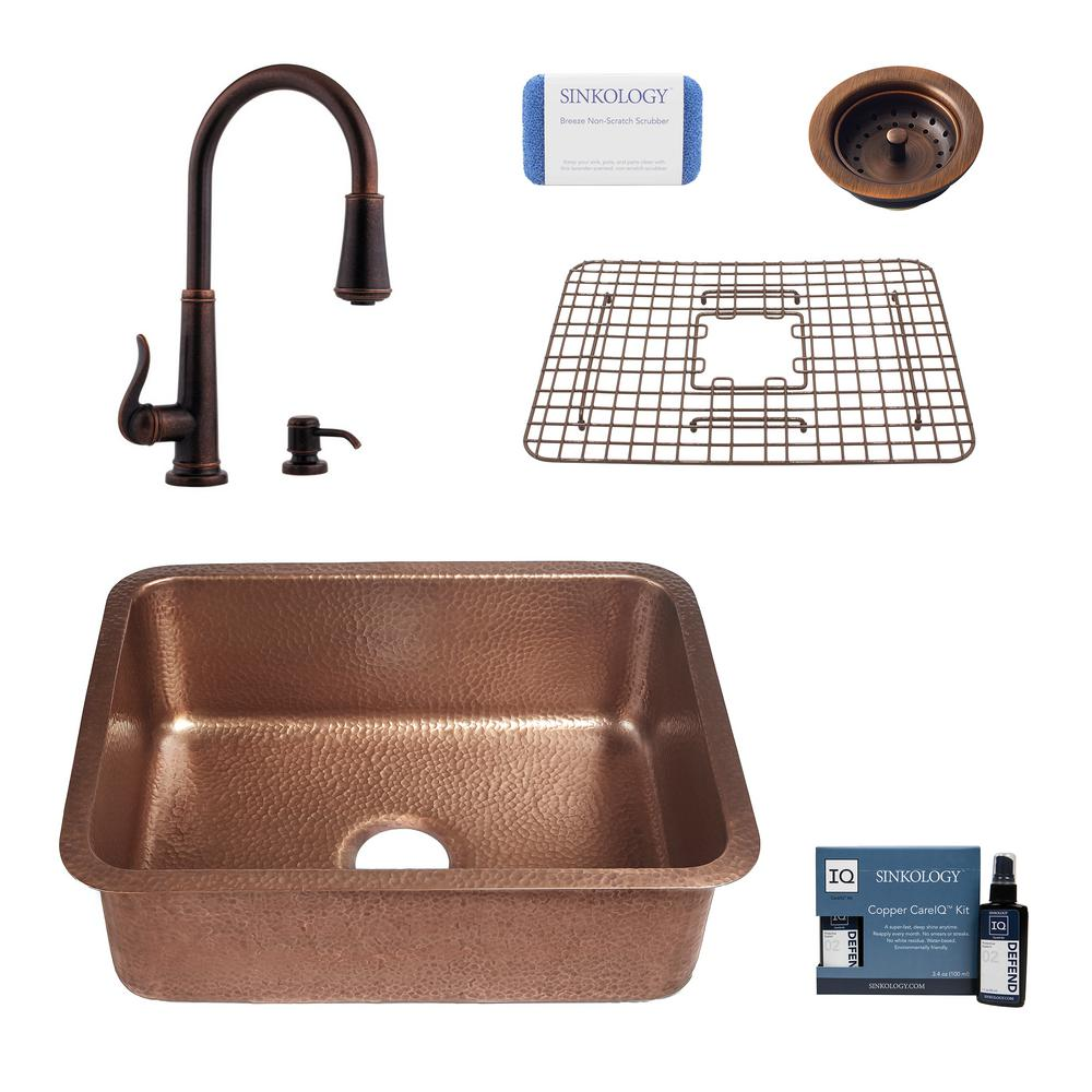 SINKOLOGY Renoir All-in-One Undermount Copper 23 in. Single Bowl Kitchen Sink with Pfister Ashfield Bronze Faucet and Strainer