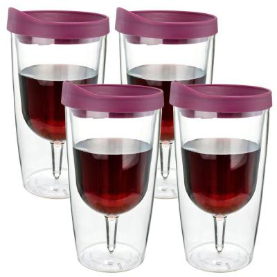 4-Piece Merlot Red 10 oz. Double Wall Acrylic Insulated Wine Tumbler Set