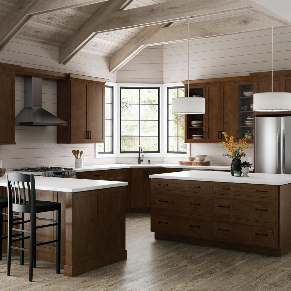 Hampton Bay Designer Series Soleste Embled 30x18x12 In Wall Lift Up Door Kitchen Cabinet E