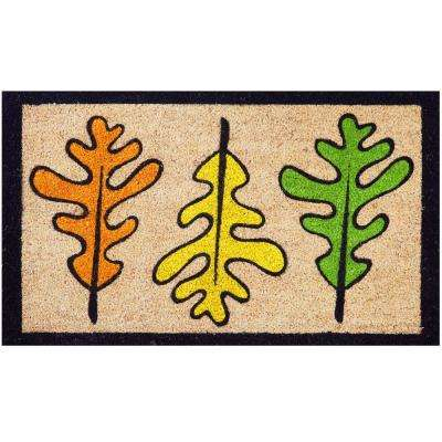 Seasonal Collection Les Trois Feuilles 18 in. x 30 in. Coir Entrance Outdoor Door Mat