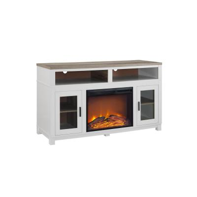 Carver White Electric Fireplace 60 in. TV Stand