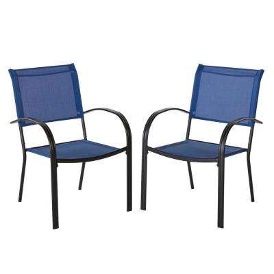 Mix and Match Black Stackable Sling Outdoor Dining Chair in Mariner (2-Pack)