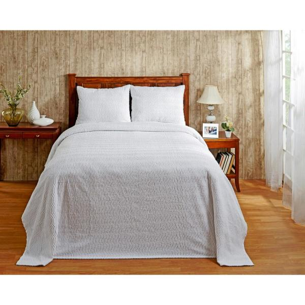 Natick Collection in Wavy Channel Stripes Design White Queen 100% Cotton Tufted Chenille Bedspread