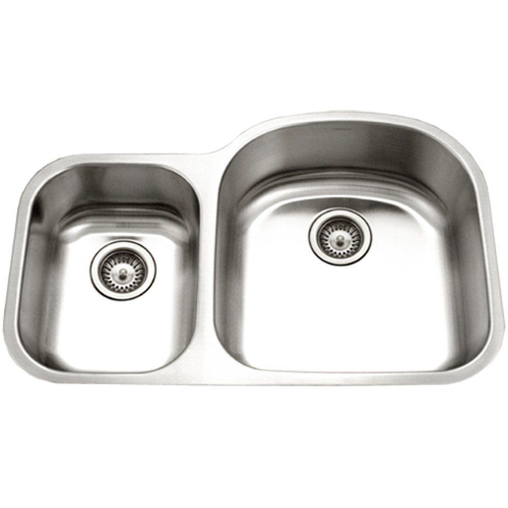 HOUZER Eston Series Undermount Stainless Steel 31 In. 30/70 Double Bowl  Kitchen Sink
