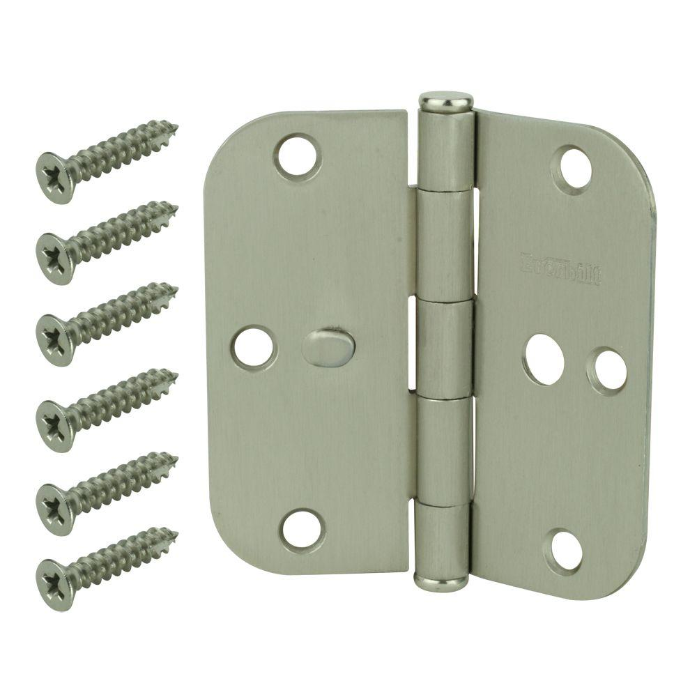 Store SO SKU #1000716467  sc 1 st  The Home Depot & Everbilt 3-1/2 in. Satin Nickel 5/8 in. Radius Security Door Hinges ...
