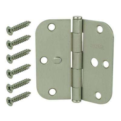 3-1/2 in. Satin Nickel 5/8 in. Radius Security Door Hinges Value Pack (3-Pack)