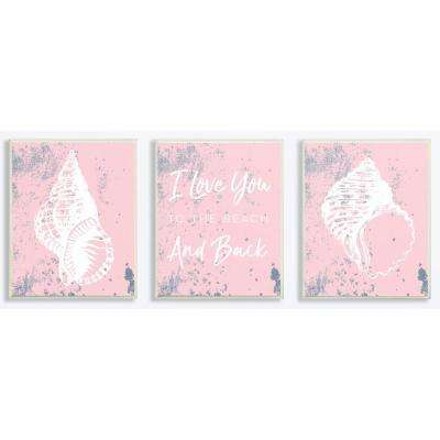 """10 in. x 15 in. """"Love You To The Beach Pink Sheels"""" by Daphne Polselli Printed Wood Wall Art"""