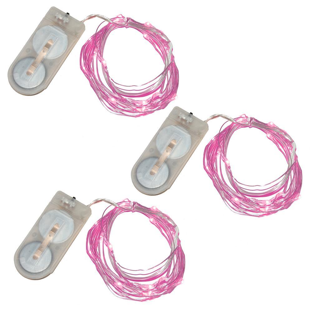 20-Pink Waterproof Mini LED String Light (Set of 3)