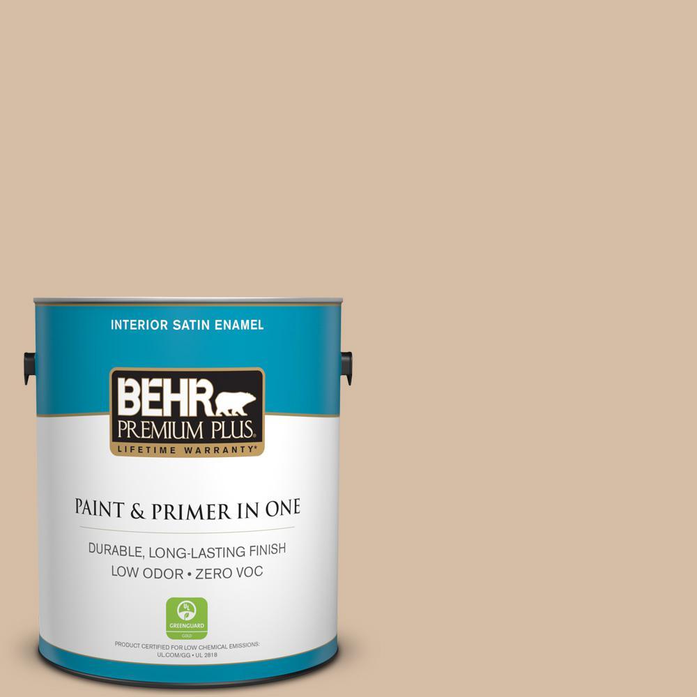 1-gal. #HDC-SM14-3 Concept Beige Zero VOC Satin Enamel Interior Paint