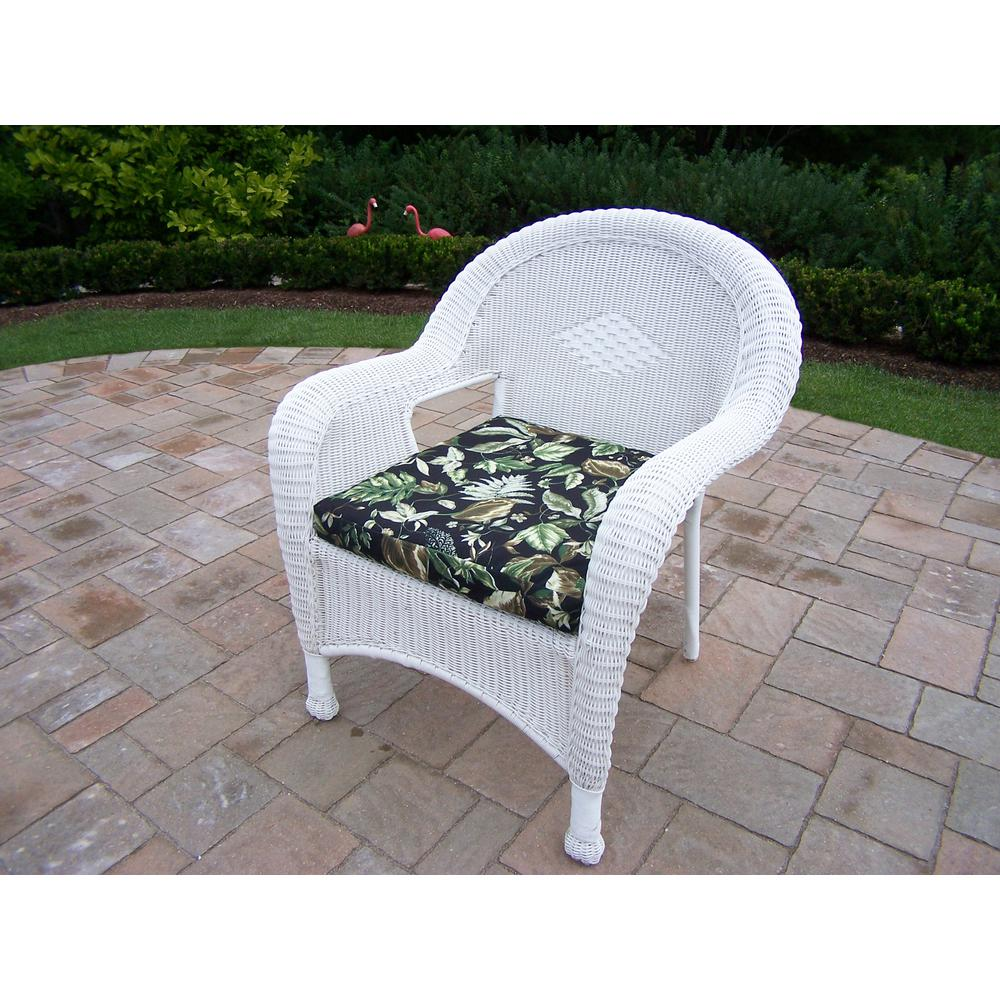 white wicker outdoor lounge chair with black floral cushion hd90030 c bf wt the home depot. Black Bedroom Furniture Sets. Home Design Ideas