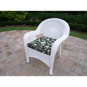 White Wicker Outdoor Lounge Chair with Black Floral Cushion by
