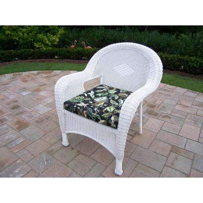 White Wicker Outdoor Lounge Chair With Black Floral Cushion