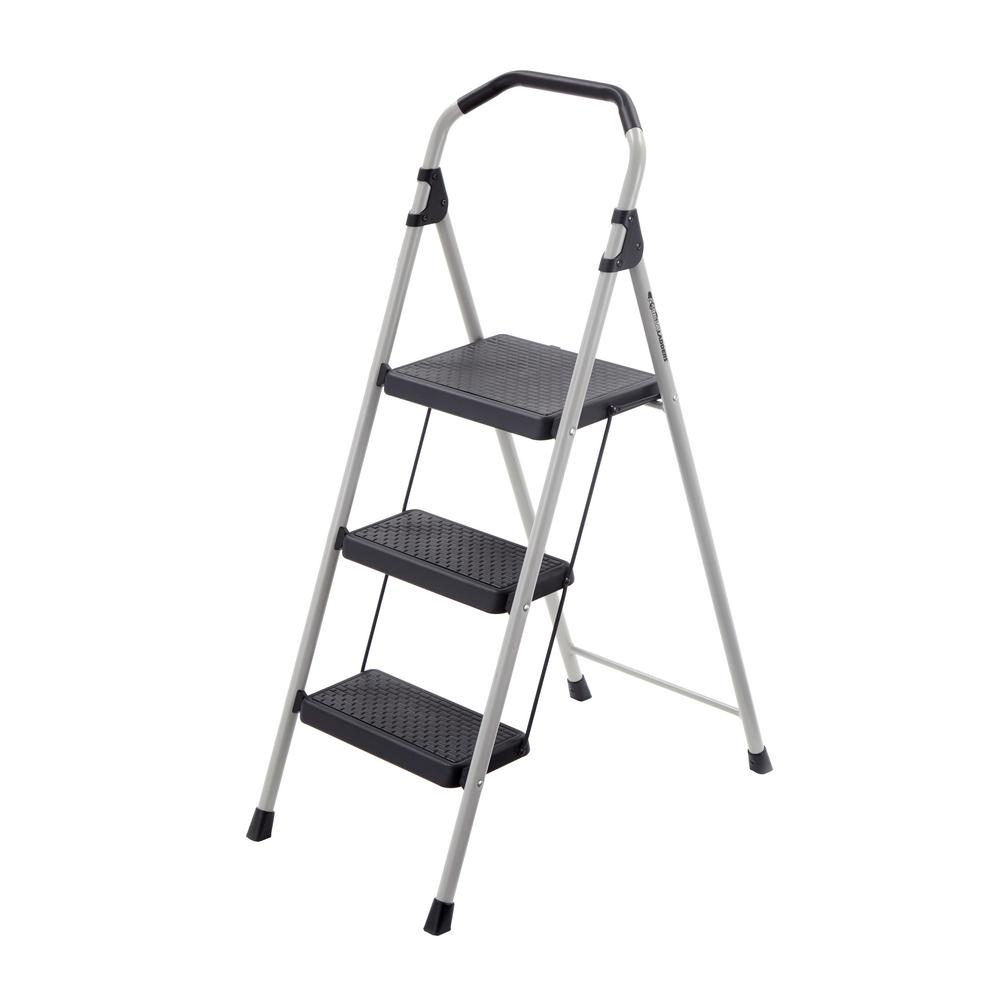 3-Step Lightweight Steel Step Stool Ladder with 225 lb. Load Capacity