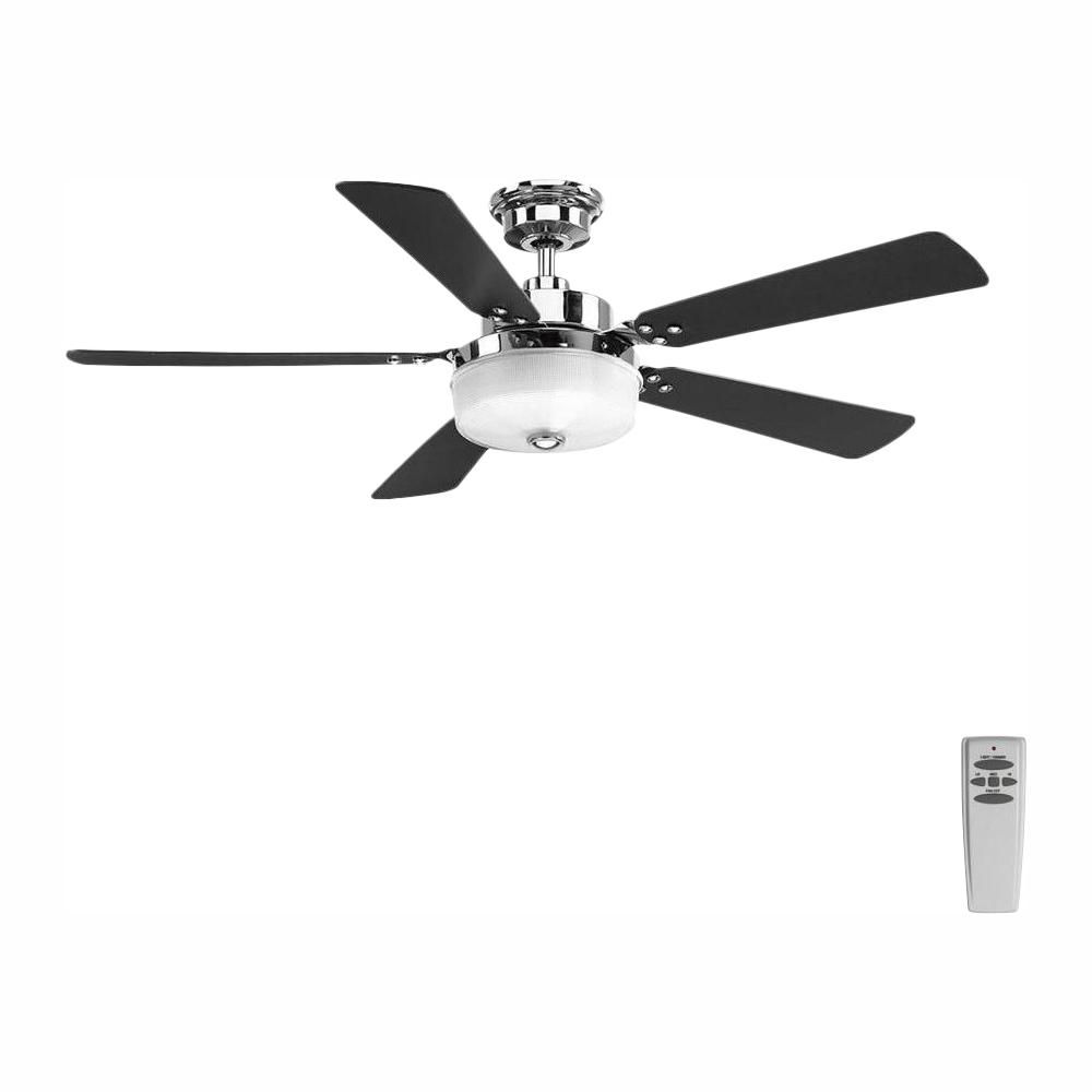 Progress Lighting Tempt 54 in. LED Indoor Polished Chrome Ceiling Fan with Light Kit and Remote
