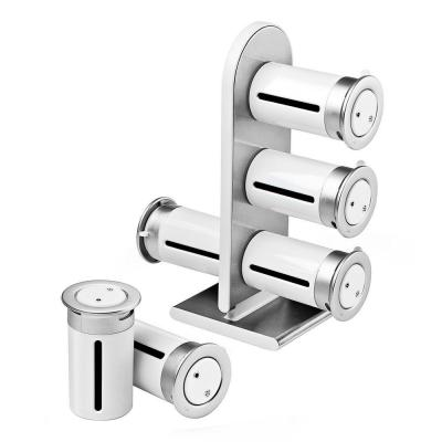 Zero Gravity 6-Canister Countertop Magnetic Spice Stand in White/Silver