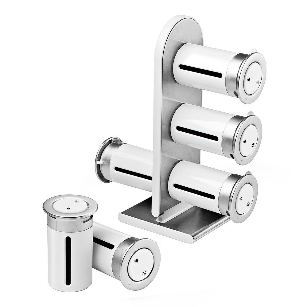 Zevro Zero Gravity 6 Canister Countertop Magnetic Spice Stand In  White/Silver