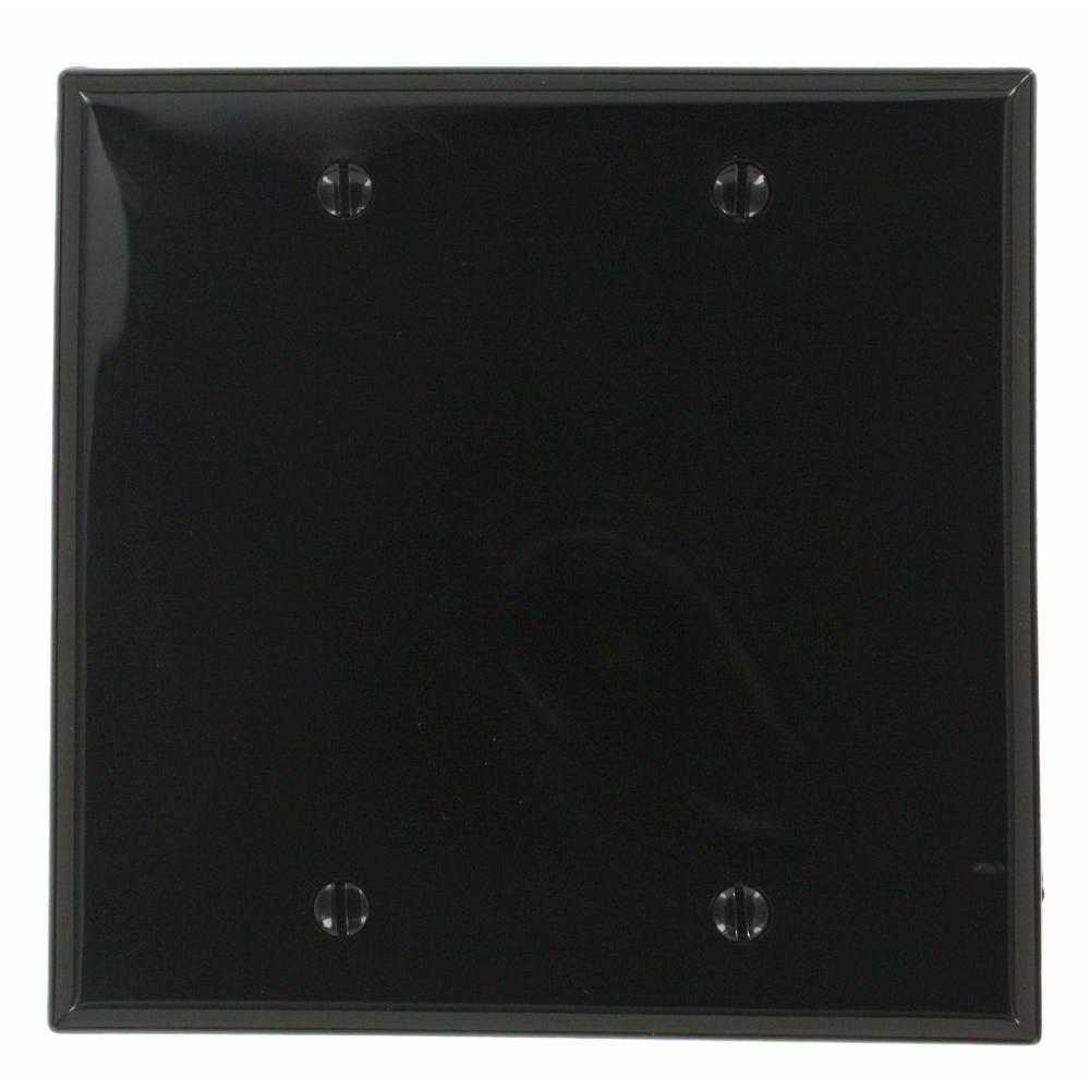 2-Gang No Device Blank Wallplate, Standard Size, Thermoplastic Nylon, Box Mount, Black