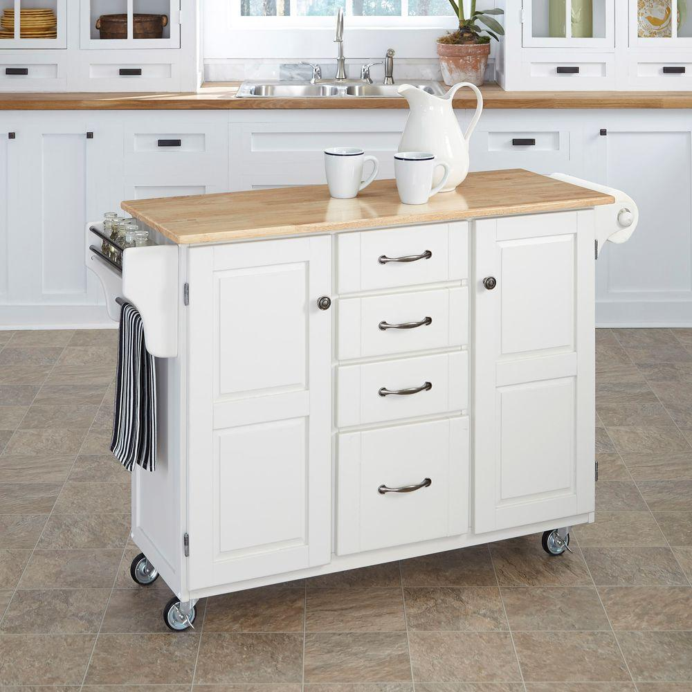 White With Natural Wood Top Kitchen Cart Island, Storage, Locking Rubber  Wheels