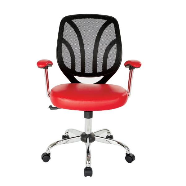 Wondrous Office Star Products Red Faux Leather Screen Back Chair With Home Interior And Landscaping Ologienasavecom