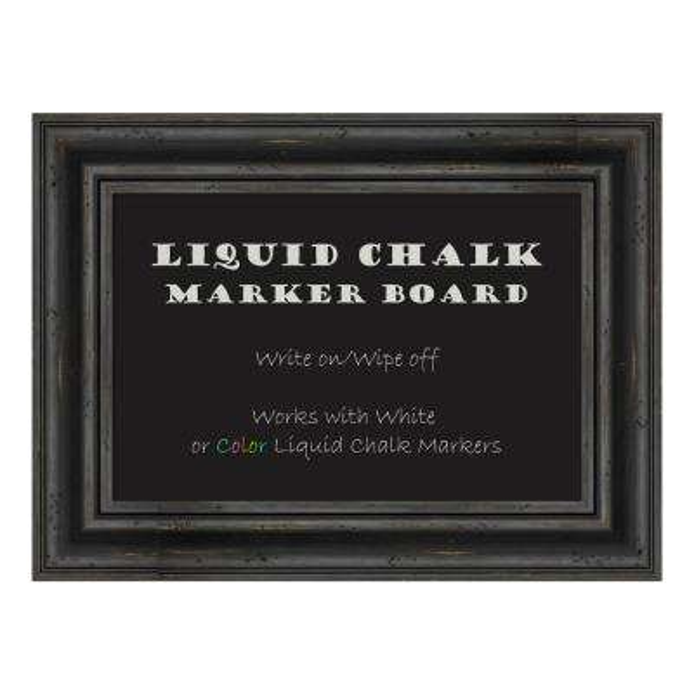 Rustic Pine Black Framed Liquid Chalk Marker Memo Board