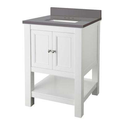 Gazette 25 in. W x 22 in. D Bath Vanity Cabinet in White with Engineered Marble Vanity Top in Grey with White Sink