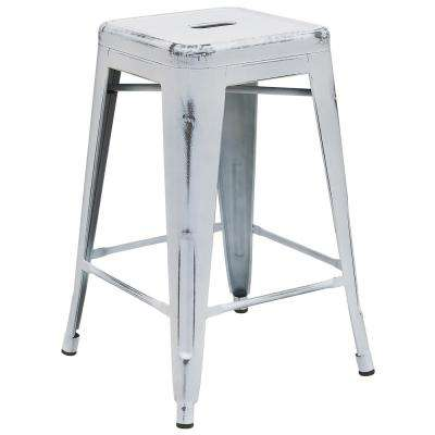 24 in. Distressed White Bar Stool