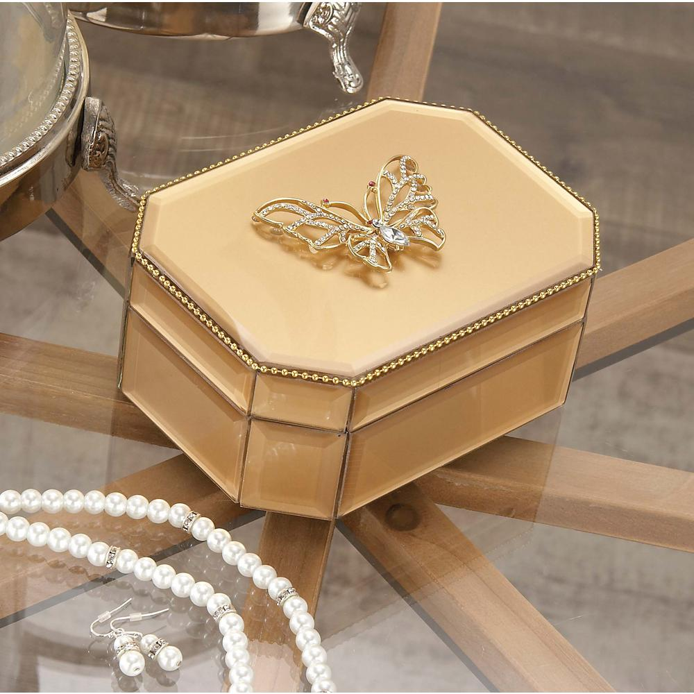 Litton Lane 6 in. x 3 in. Wooden Gold Butterfly Glass Box-35779 ...