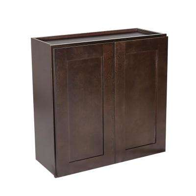 Brookings Ready to Assemble 27x36x12 in. Shaker Style Kitchen Wall Cabinet 2-Door in Espresso