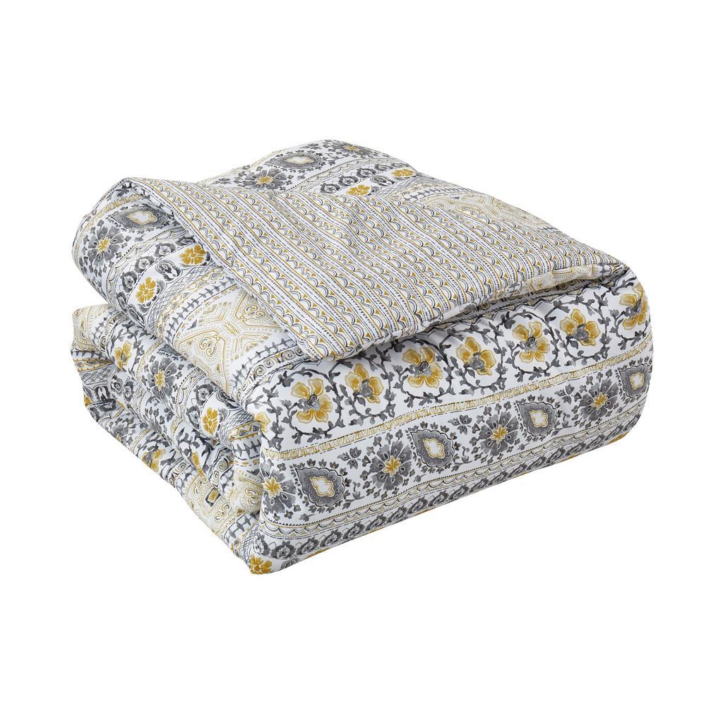 Chloe 7-Piece Yellow/Grey Queen Comforter Set
