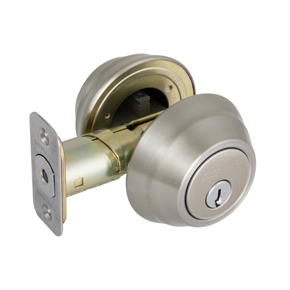Wavelet Satin Nickel Double Cylinder Deadbolt