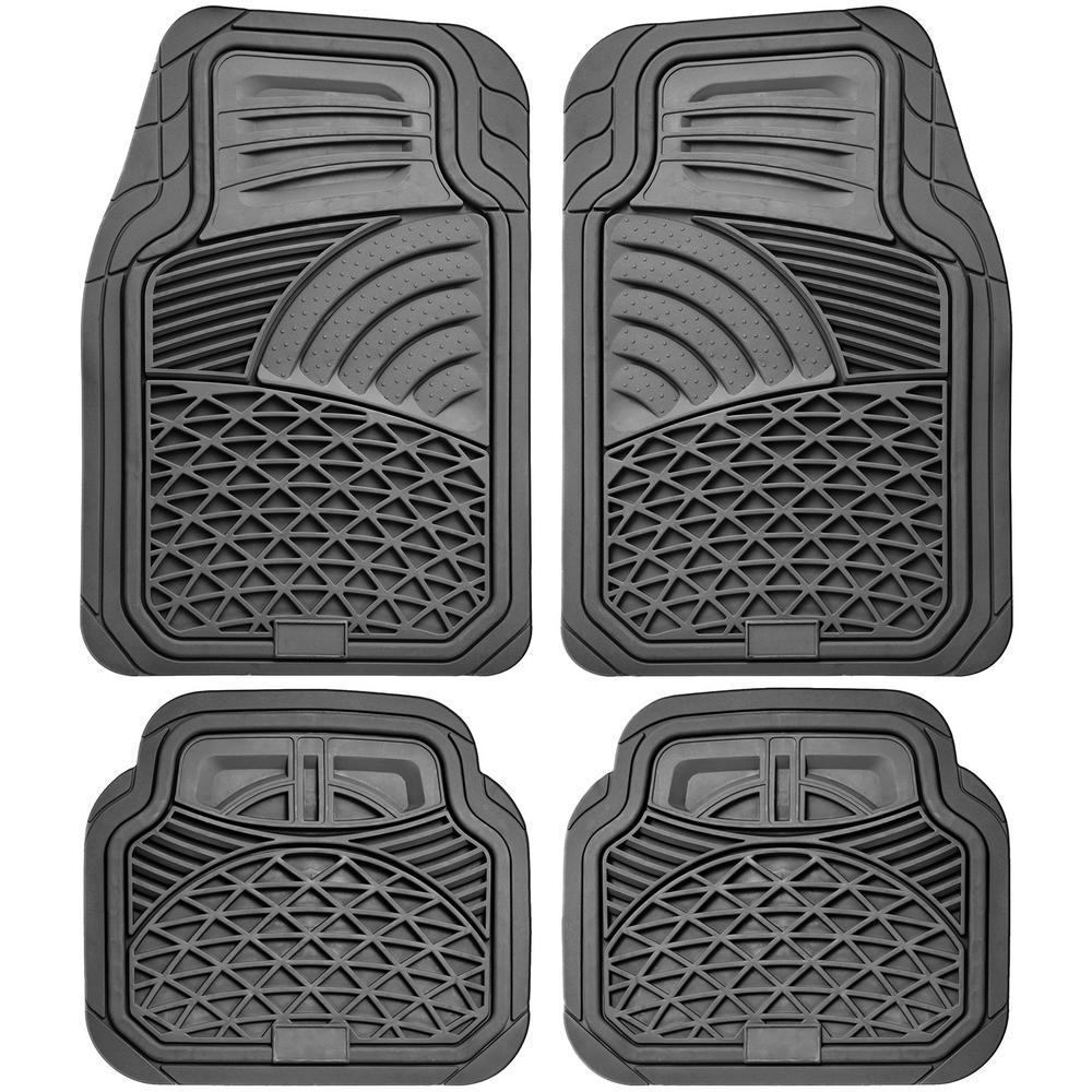 Gray 4-Piece Set Tactical Heavy Duty Rubber Floor Mat