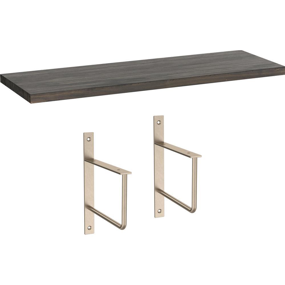 24 in. x 8 in. x 6 in. Dark Stained Solid Pine Decorative Wall Shelf with Nickel Art Deco Steel Brackets