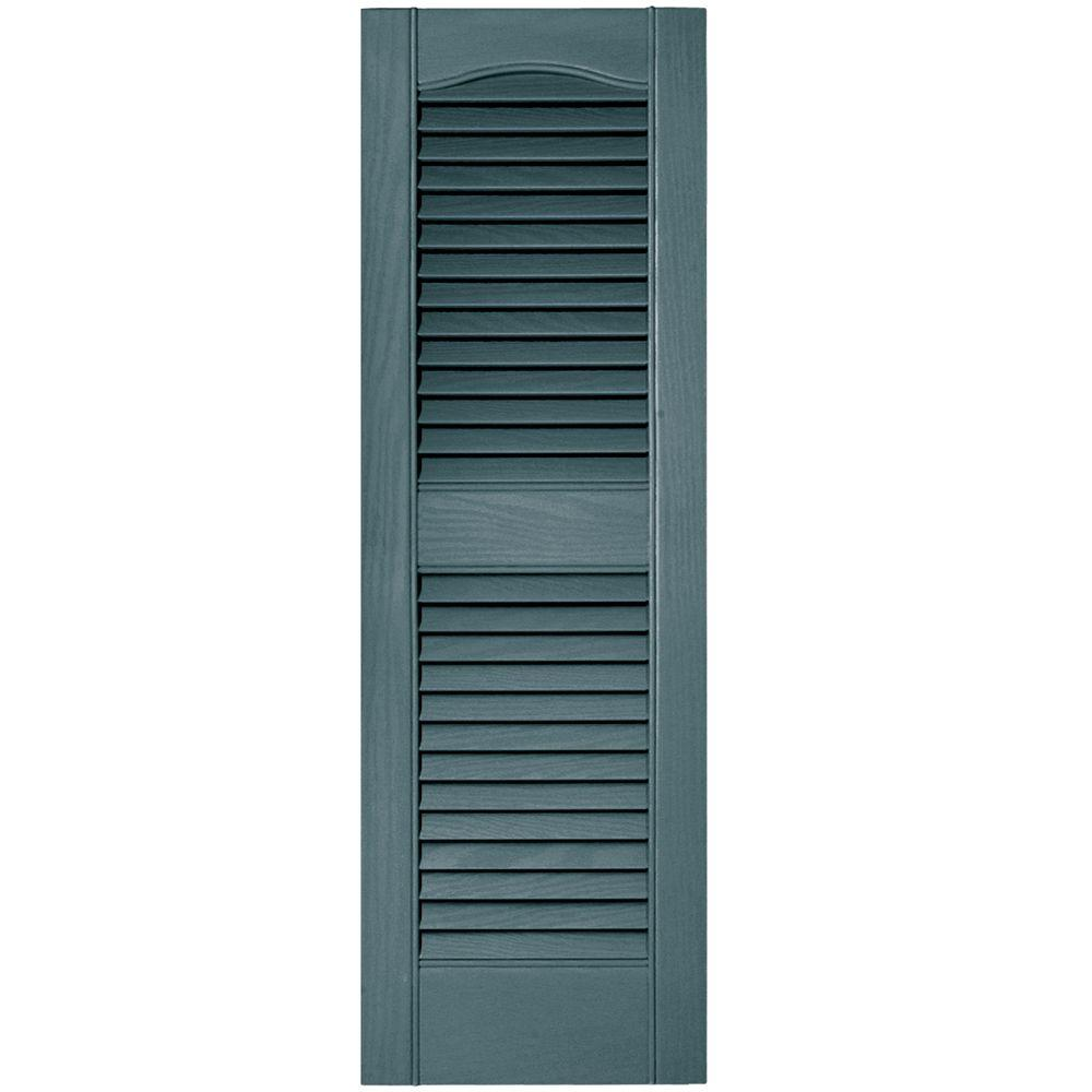 12 in. x 36 in. Louvered Vinyl Exterior Shutters Pair #004
