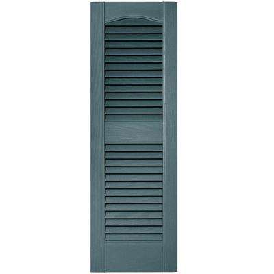 12 in. x 36 in. Louvered Vinyl Exterior Shutters Pair #004 Wedgewood Blue