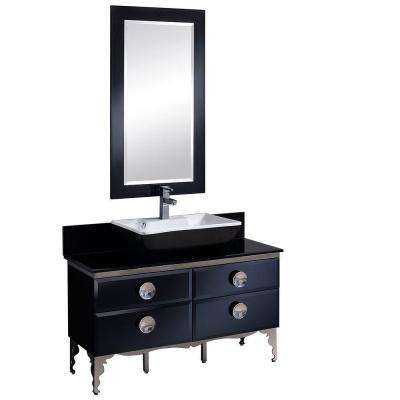 Moselle 47 in. Vanity in Black with Tempered Glass Vanity Top in Black, White Basin and Mirror
