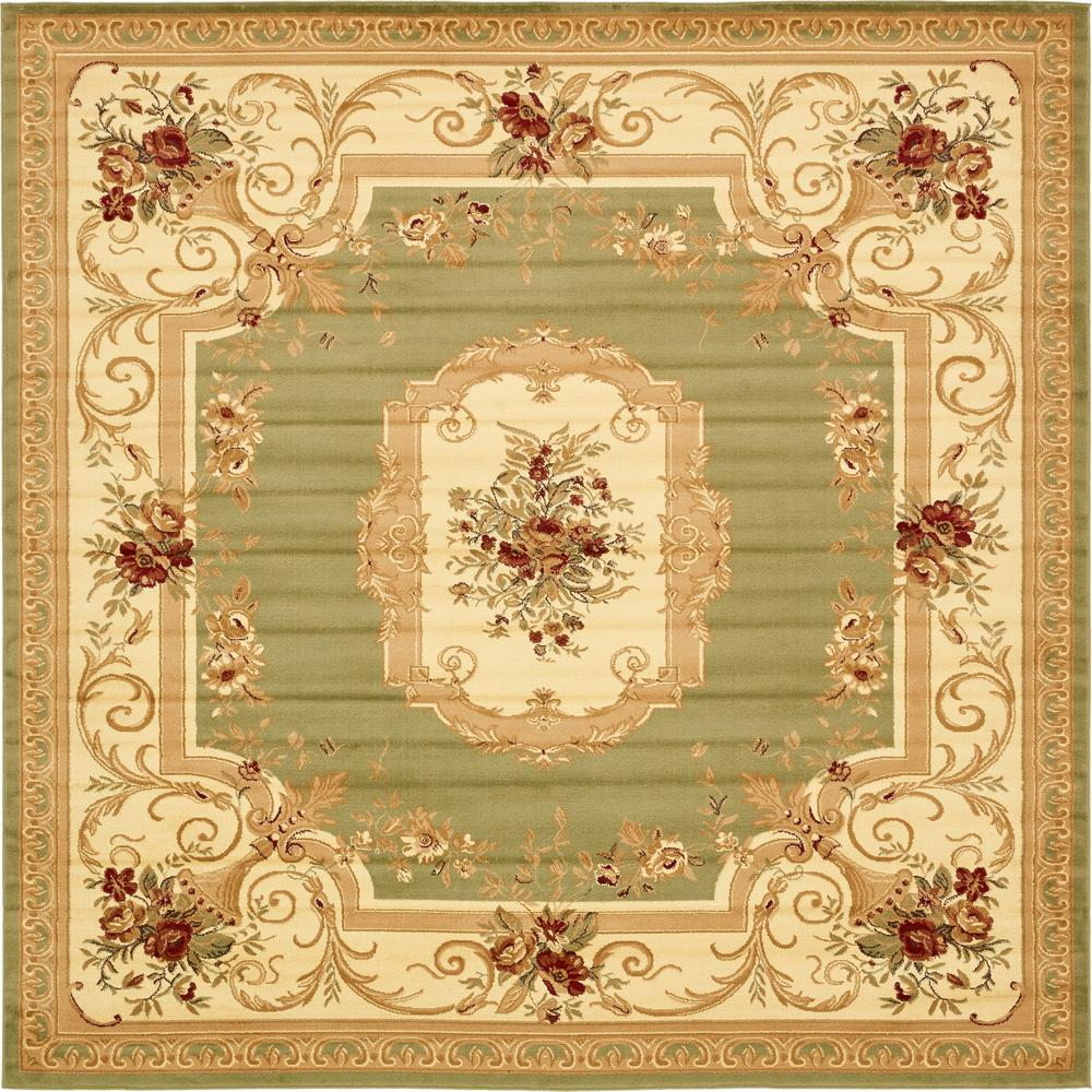 Unique Loom Versailles Henry Green 10 0 X 10 0 Square Rug 3132888