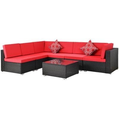 Belle Modern Style Black 7-Pieces Outdoor Rattan Wicker Sofa Sectional Set with Red Cushions